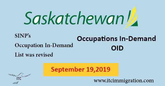 Saskatchewan Occupation In-Demand September 2019 Revised immigrate to Canada