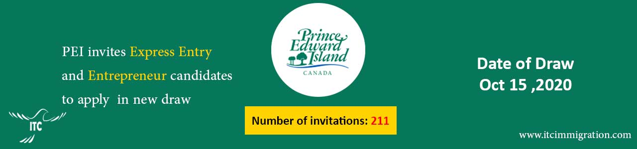 Prince Edward Island EOI draw 15-Oct-2020 immigrate to canada PEI Business Work Permit Entrepreneur PEI Business Work Permit Entrepreneur
