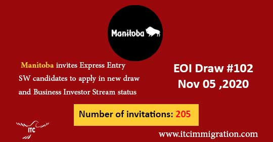 Manitoba Express Entry & Business Investor Stream 5 Nov 2020 immigrate to Canada