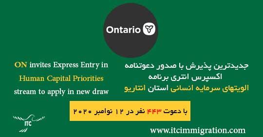 برنامه الویتهای سرمایه انسانی انتاریو 12 نوامبر 2020 مهاجرت به کانادا