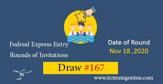 Federal Express Entry Draw 167 immigrate to Canada Federal Skilled Worker