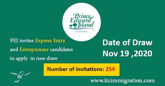 Prince Edward Island EOI draw 19-Nov-2020 immigrate to Canada PEI Labour & Express Entry PEI Business Work Permit Entrepreneur