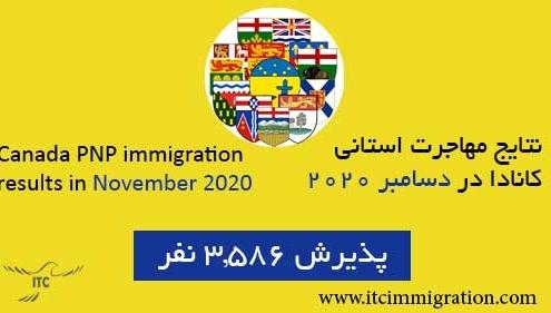 نتایج مهاجرت استانی کانادا در دسامبر 2020