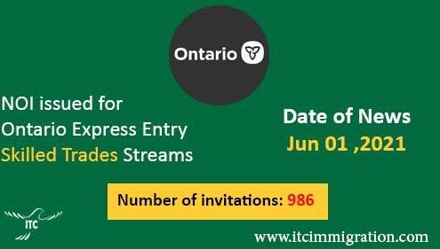 Ontario Express Entry 1 Jun 2021
