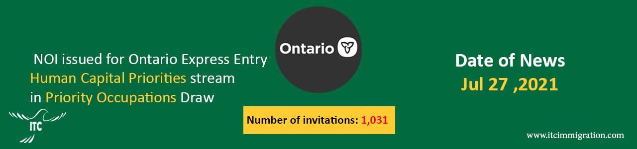 Ontario Human Capital Priorities 27 Jul 2021 Priority Occupations Draw